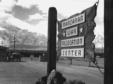 "Ansel Adams, ""Entrance to Manzanar,"" 1943 [detail]. Gelatin silver print (printed 1984). Private collection; courtesy of Photographic Traveling Exhibitions."