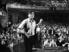 Rock promoter Bill Graham onstage before the final concert at Fillmore East.