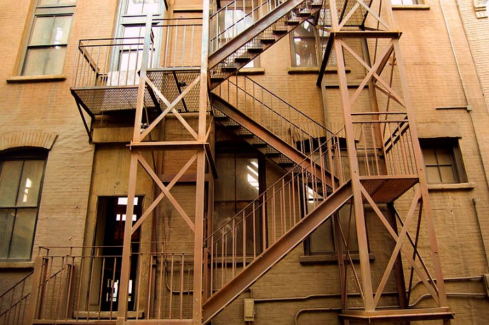 "Fire escape from ""Spider-Man"" at Warner Bros. Studio"