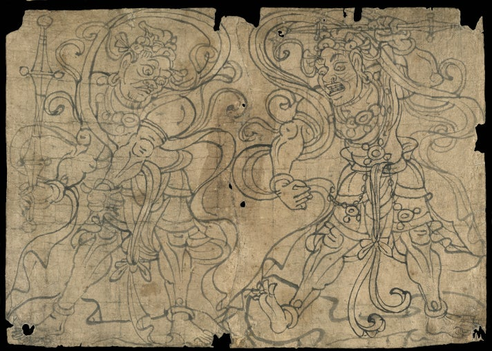 "Sketches of Vajra Deities from ""Cave Temples of Dunhuang"" at Getty Center"