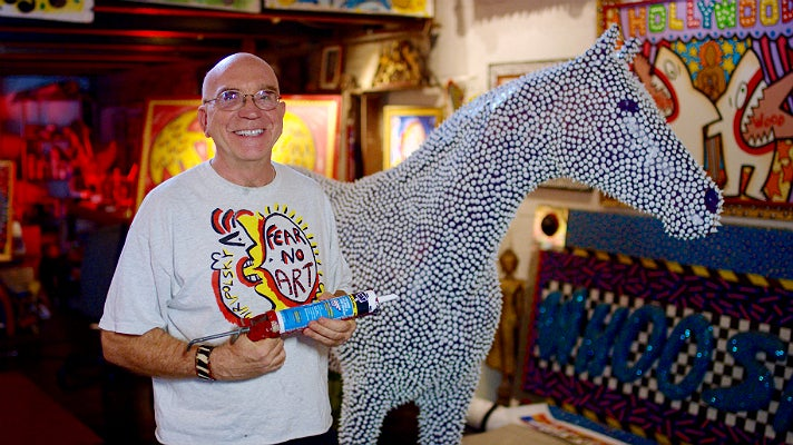 """Andre Miripolsky in his studio with """"Prickles"""""""