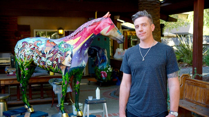 """Clinton Bopp at his studio with """"Stardust"""""""