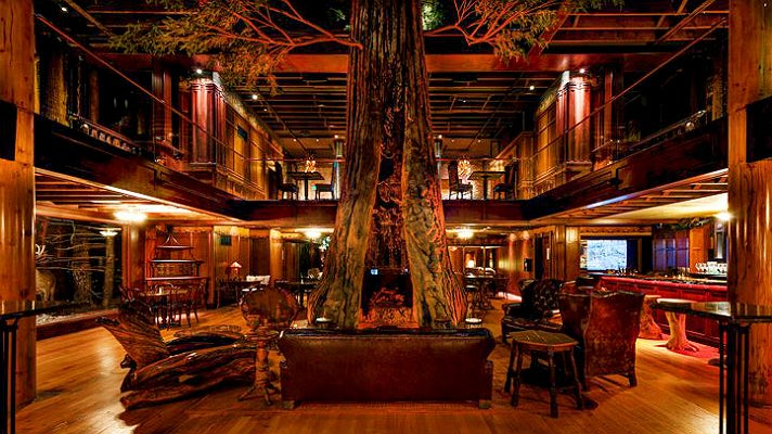 Redwood tree and atrium at Clifton's