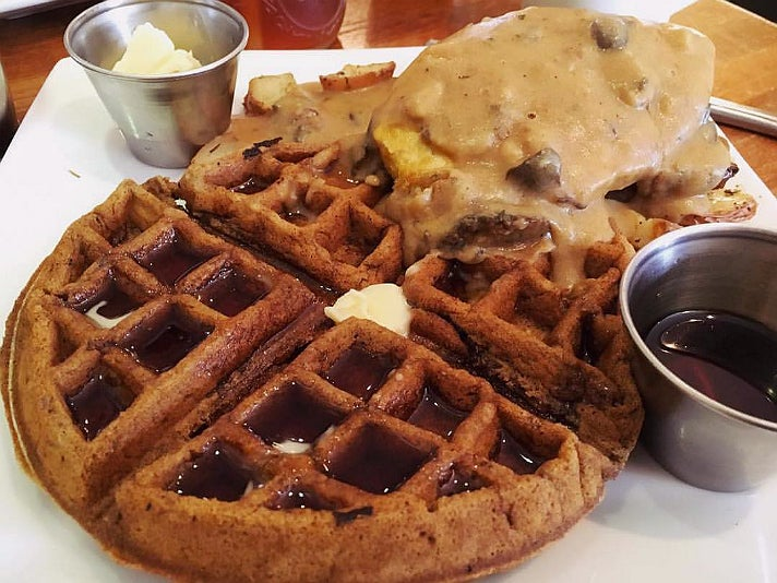 """""""Chicken"""" and waffles at Flore"""