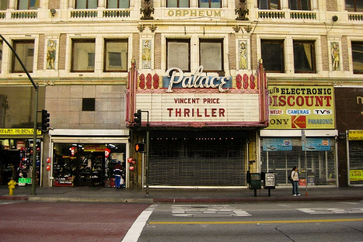 """Thriller"" marquee sign at The Palace Theatre"