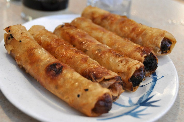 Fried egg rolls at Golden Deli
