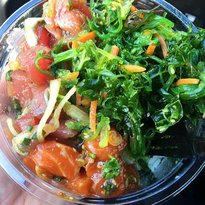 Bigeye tuna and salmon sashimi poke bowl at Ohana Poke Co.